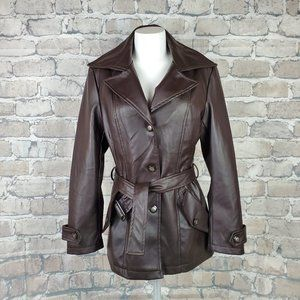 Emporio & Co Vegan Leather Jacket Brown Medium